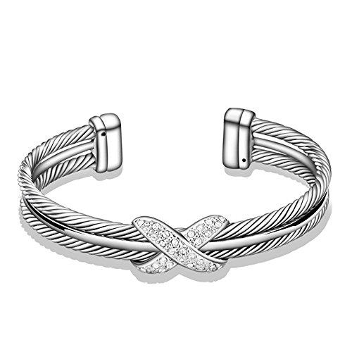 Bracelet David Cuff Yurman (UNY Fashion jewelry Brand Cable Wire Retro Antique Bangle Elegant Beautiful Valentine Mothers day Gift (ONE TONE))