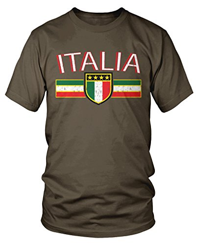 Amdesco Men's Italia Flag and Shield, Italy Italian Pride T-Shirt, Dark Chocolate 2XL