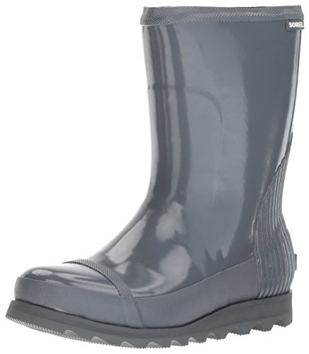 SOREL Women's Joan Short Gloss Rain Boot, Graphite, Sea Salt, 12 M US by SOREL