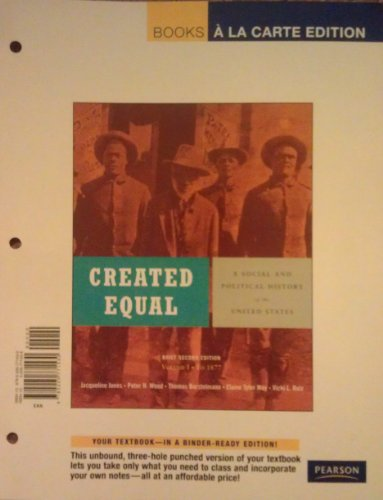 Created Equal: A Social and Political History of the United States, Brief Edition, Volume 1 (to 1877), Books a la Carte