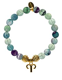 EvaDane Natural Semi Precious Fluorite Gemstone Tibetan Bead Aries Charm Stretch Bracelet