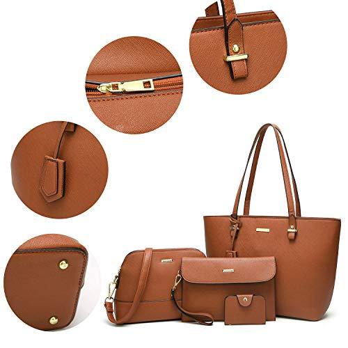 Set Brown Bag Handle Fashion 4pcs Bag Handbags Shoulder Satchel Purse Top ELIMPAUL Women Tote BAxOPU6