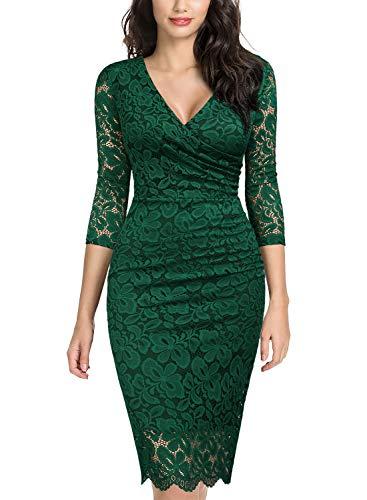 Miusol Women's Retro Deep-V Neck Ruffles Floral Lace Evening Pencil Dress (Medium, E-Dark Green) Dillards Special Occasion Dresses