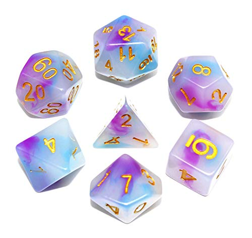 Polyhedral DND Dice Role Playing Game Dice Set Fit Dungeons and Dragons Pathfinder RPG DND MTG Table Game Dice Ink Elements Series Lake Blue & Rose Double Color with Dice Pouch