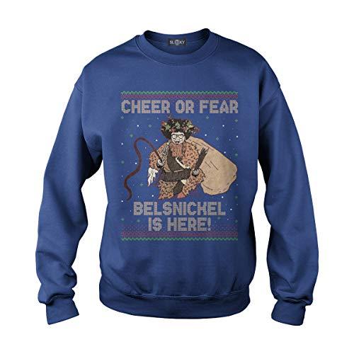 Unisex Cheer Or Fear Belsnickel is Here Adult Crewneck Sweatshirt (M, Royal ()