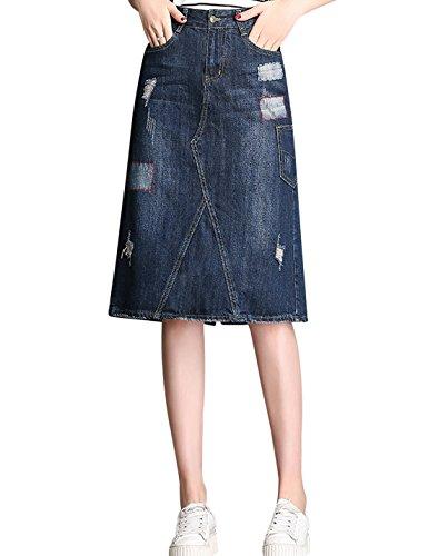 (Tanming Women's Knee Length A-Line Distressed Midi Denim Jean Skirt (Blue,)