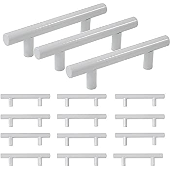 Probrico Modern Kitchen Cabinet Hardware Drawer Handle Pulls Kitchen Cupboard T Bar Knobs and Pull 12mm Diameter White - 3 Inch Hole Centers - 15Pack