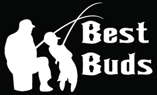 Father Son Fishing Best Buds Car Truck Window Bumper Vinyl Graphic Decal Sticker- (6 inch) / (15 cm) Wide GLOSS BLACK Color