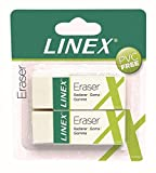Linex ER30/2B 100417490 12 x Set of 2 Erasers Very Soft Plastic Eraser in White