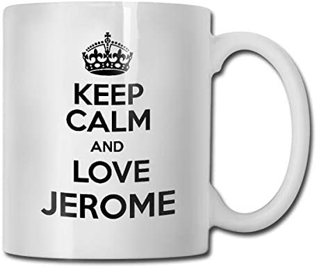 antspuent Keep Calm and Love Jerome Funny Coffee Mug - 11 Ceramic Coffee Cup - Best Gifts Idea for Christmas, Valentine and Birthday, Father's Day and Mother's Day Cup