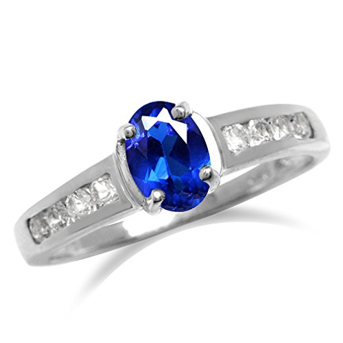 Synthetic Blue Sapphire White Gold Plate 925 Sterling Silver Engagement Ring