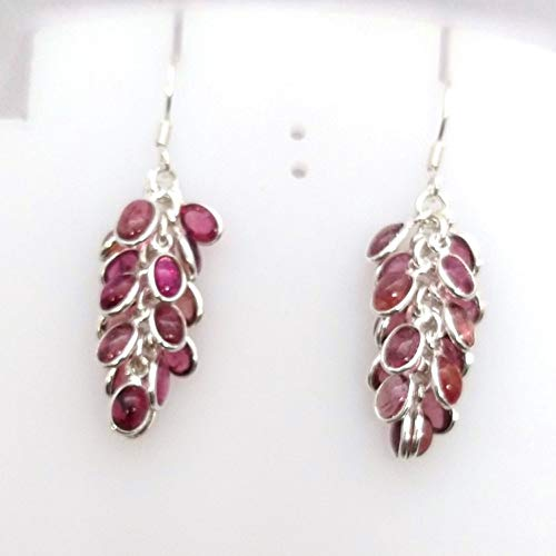 925 Sterling Silver Pear Multi-Color Tourmaline Dangle Falling Grapes Earrings