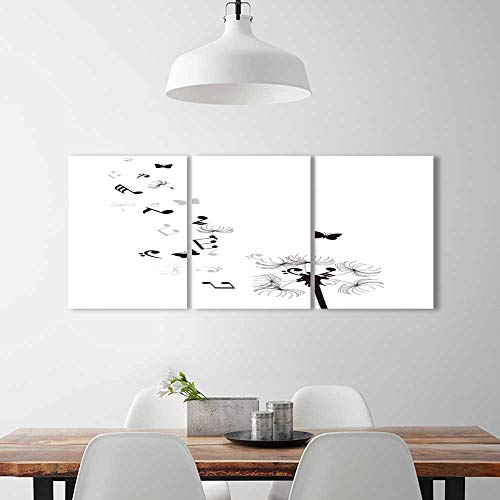 3 Pieces Multiple Pictures Wall Art Frameless vector illustration a dandelion musical notes butterflies perfect wall decoration W24 x H36 x 3pcs