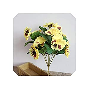 Liliy-luckly Simulation Plant Decor Desk Wedding Bouquet Pansy,Yellow 58