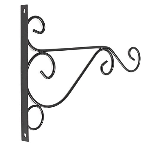 Awesomes Hanging Plant Hook-Black Iron Plant Hanging Hooks Wall Brackets for Planter (top-G011-fitting)