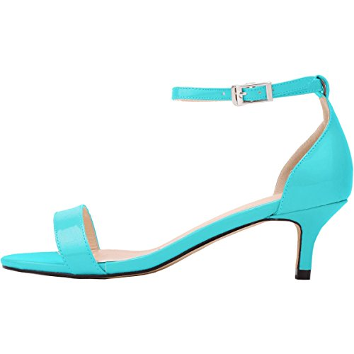 Bout Escarpins Chaussure Cheville Talon Bride Moyen Soirée 35 Sandales Ouvert Wealsex Cuir Azur 42 Vernis Femme Confort Mariage Boucle 7wv0x15q
