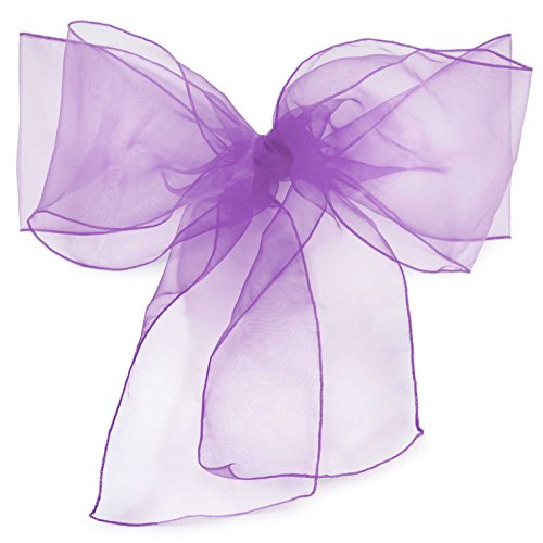 Lann's Linens - 10 Elegant Organza Wedding/Party Chair Cover Sashes/Bows - Ribbon Tie Back Sash - Purple (Chair Cover Ties)
