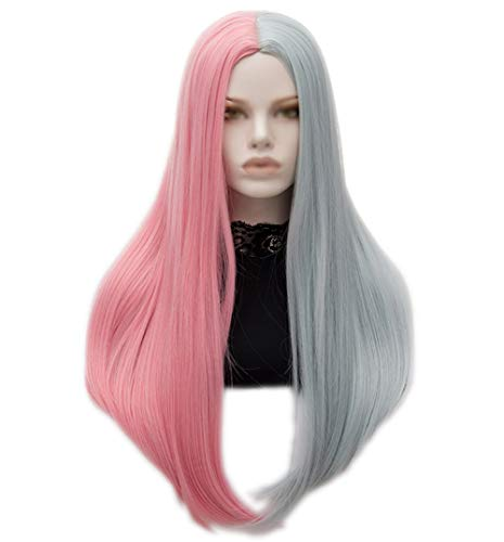 Wgior Womens Long Straight Middle Part Two Tone Mixed Color Hair Halloween Con Cosplay Costume Party Synthetic Wigs (Pink Silver Mixed 4) -