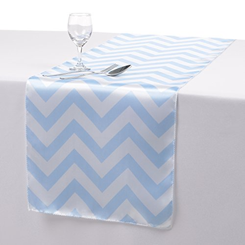 Remedios 14x108 Inch Satin Chevron Wedding Party Table Runner Table Top Decoration Baby Blue