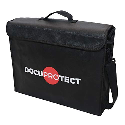 """Fireproof Document Bag XXL (16""""x12""""x4"""" Inch) with Shoulder Strap and Zipper, for Protection of Money, Passports, Jewelry, Laptops"""