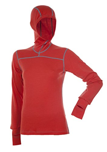 Janus 100% Merino Wool Women's Long Sleeve W/Hood Machine Washable Made in Norway (Small, Coral)