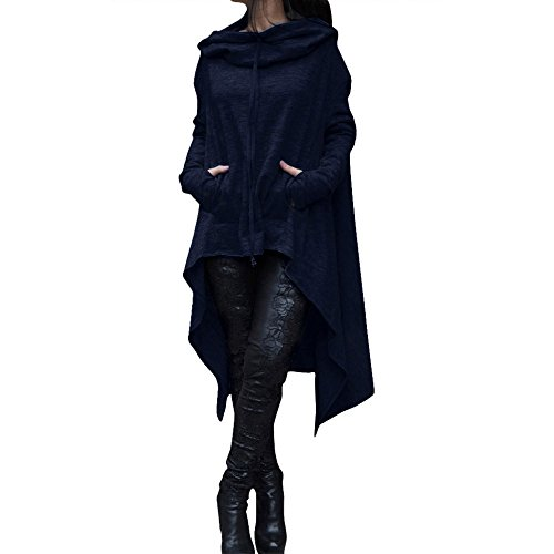 Women Loose Hoodie Long Hooded Tops Ladies Sweatshirt Sweater Asymmetric Blouse(Navy,XXXXL)