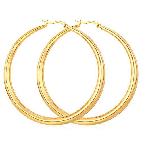 Stainless Steel & 18K Gold Plated Round Hoop Earrings, 62mm