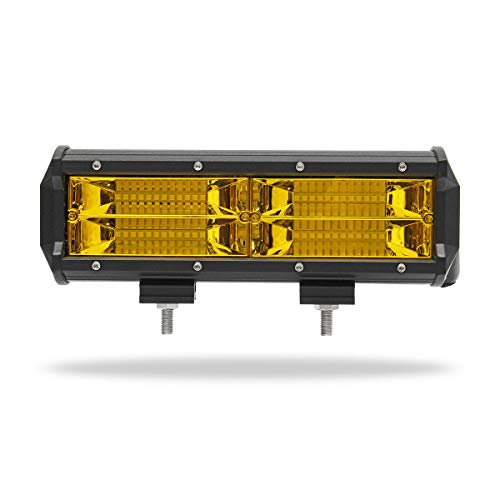 7Inch 8D LED Work Light Bars Fog Lamp 144W Yellow for Jeep Off Road ()