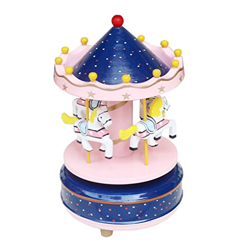 Starsource Wooden Merry Go Round Carousel Horse Dancing Music Box, Christmas Birthday Gift to Kids Boys Girls
