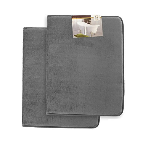Memory Foam Bathrug 2 Pack Set - Gray - Bath Mat and Shower Rug Small 17