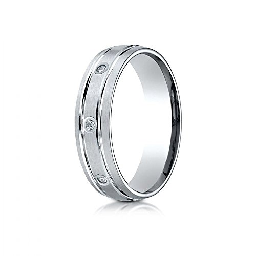 18k White Gold 6mm Comfort-Fit burnish Set 8-Stone Satin Finish Diamond Eternity Ring (.16ct) - Size 8 by Wedding Bands Wholesale