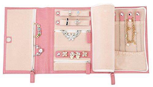 Travel Jewelry Organazier Pink Jewelry Case Vegan Leather Bag Jewelry Storage by ELOI