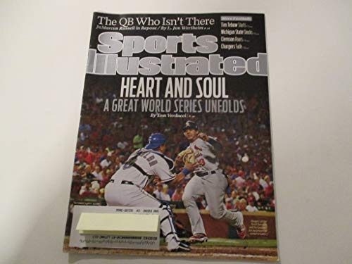 OCTOBER 31, 2011 SPORTS ILLUSTRATED FEATURING JON JAY OF ST. LOUIS CARDINALS & YORVITT TORREALBA OF TEXAS RANGERS *HEART AND SOUL- A GREAT WORLD SERIES UNFOLDS -BY TOM VERDUCCI* MAGAZINE