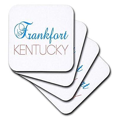 3dRose Alexis Design - American Cities Kentucky-Nebraska - Frankfort, Kentucky blue, red text. Patriotic home town design - Coasters