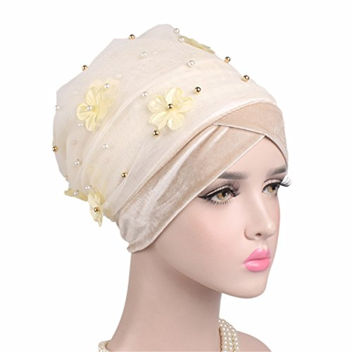 Cut Beaded In Sweater (Qhome 3D Flower Beaded Long Meshvelvet Turban Head Wrap Nigerian Turban Stylish Head Scarf Women Africa Hijab Ladies Turbante)