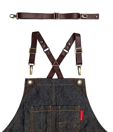 Full Grain Brown Leather Strap Set for Cross-Back Aprons - Stylish Straps with Metal Hardware for Chef, Barber, Bartender, Barista, Tattoo Artist, Mechanic - Adjustable for Men and Women ()