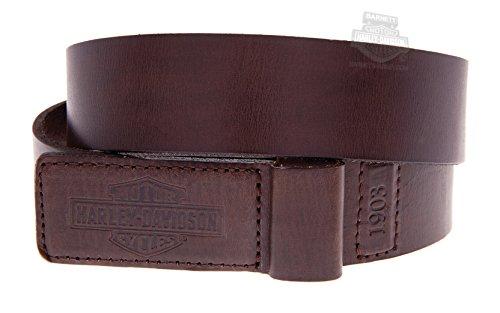 Leather Covered Buckle Belt (Harley-Davidson Mens Mechanics Trademark B&S Covered Buckle Brown Leather Belt -)