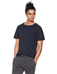 Young Men's Short Sleeve Notched Crewneck T-Shirt in Slub Jersey