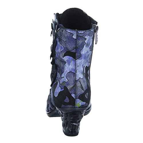 Stiefel Schnürstiefelette Stiefelette Damen Blau Reißverschluss Blue Blümchen Schwarz Simen 0518A qRpXXt