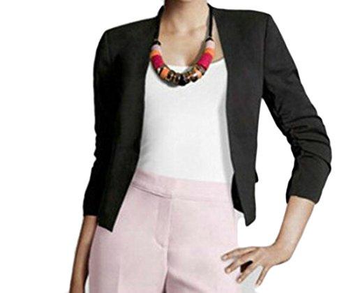UUYUK Womens Spring Fall Solid Open Front Puff Sleeve Blazer Jacket Coat Black US ()