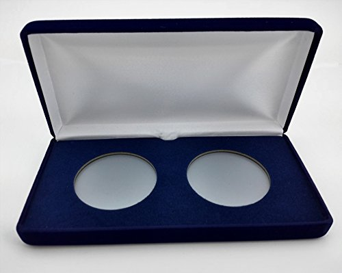 ((1) Air-Tite Blue Velvet Coin Presentation Case (Holds 2) for Air-Tite Brand Coin Holder Capsules (Model