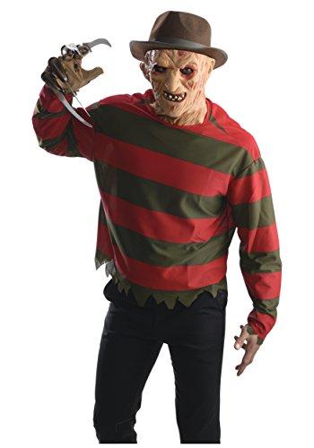 Freddie Krueger Costumes (Rubie's Men's Nightmare on Elm St Freddy Krueger Costume Shirt with Mask, Multicolor, X-Small)