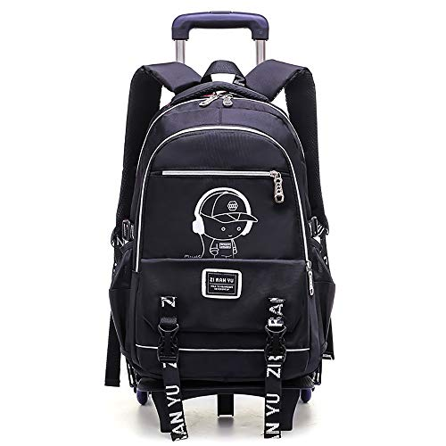 Canyixiu School Bag Backpack Junior High School Student Trolley Bag Six Rounds Climbing Stairs Boy Primary School Backpack Dual-use Kids Backpack (Color : 2, Size : Free Size)