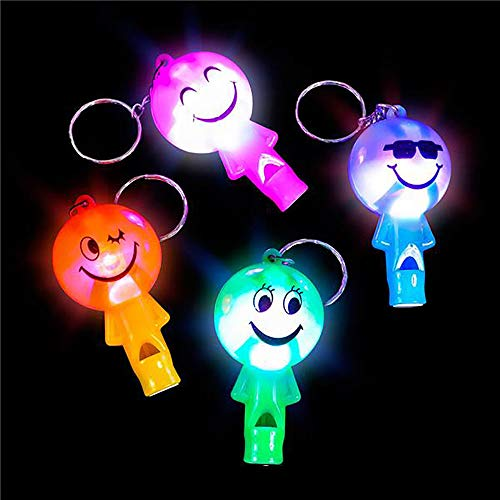 Kicko 2 Inch Light-up Smiley Face Whistle Keychain - 12-Pack Mini Backpack Noisemaker Hook - Keyring for Bag and Belt Loop Accessory, Back to School Item, Arts and Crafts, Emergency Tool, Party Favor
