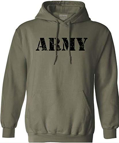 (Joe's USA Vintage Army Logo - Green Hooded Sweatshirt-S )
