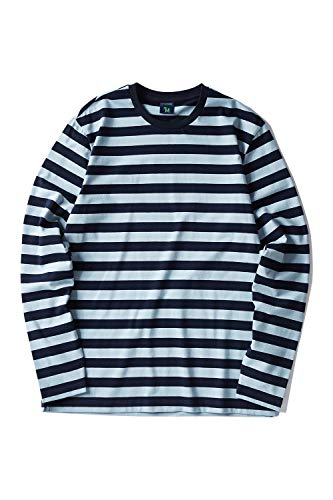 (Zengjo Men's Casual Cotton Spandex Striped Crewneck Long-Sleeve T-Shirt Basic Pullover Stripe tee Shirt (XXL, Navy&Grey Blue Wide) )