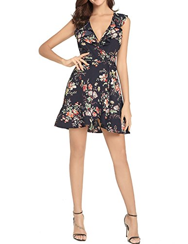 Bohme Style Dress sans Imprimer Halter Weekendy V Neck Robe Black Manches Dress Slim Dress Dress ZOIqxtYvn