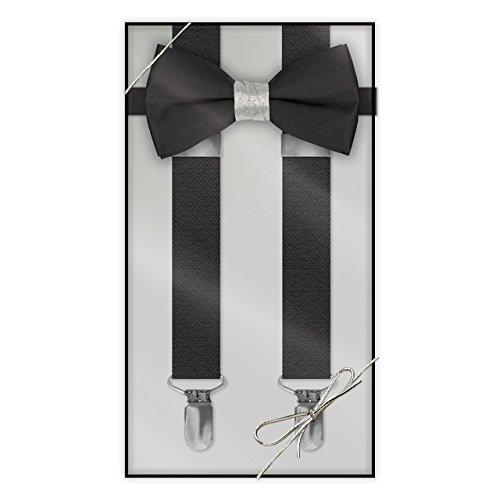 (Suspender & Bow Tie Set (Adult, Black Bow W/Silver Metallic)