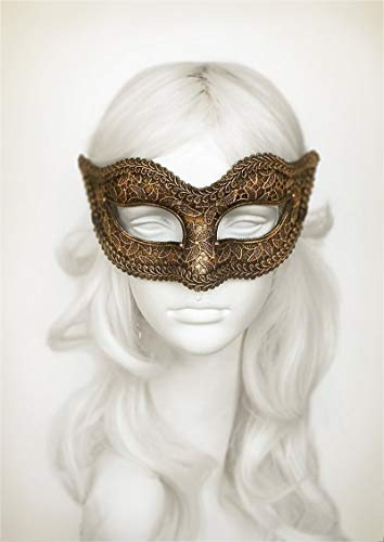 Antiqued Black & Gold Masquerade Mask In Steampunk Look