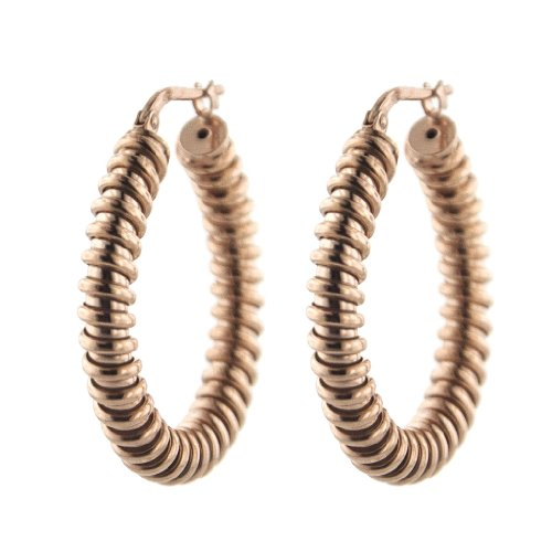 MCS Jewelry Sterling Silver Rose Gold Plated Ribbed Hoop Earrings
